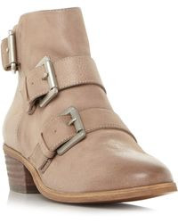 045e2d007f0 Steve Madden - Natural Leather  straps  Mid Block Heel Ankle Boots - Lyst