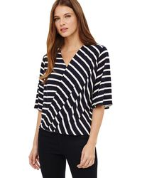 Phase Eight - Blue Willa Wrap Front Stripe Top - Lyst