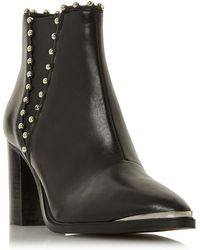 312a87a71c5 Steve Madden - Black Leather  himmer   Block Heel Ankle Boots - Lyst