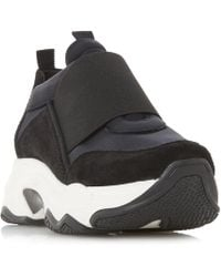 Dune Black - Black Leather 'easy' Casual Trainers - Lyst