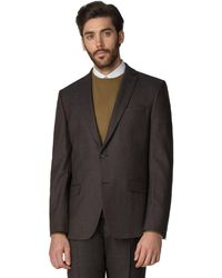 Racing Green - Brown Textured Tailored Jacket - Lyst
