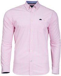 Raging Bull - Pink Colour Gingham Shirt - Lyst
