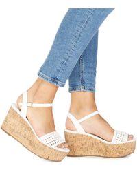 Faith - White 'diva' High Flatform Heel Ankle Strap Wedges - Lyst