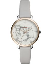 Fossil - Ladies Grey 'jacqueline' Analogue Leather Strap Watch Es4377 - Lyst