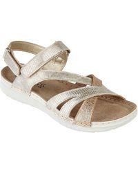Lotus - Gold 'sangallo' Peep Toe Sandals - Lyst