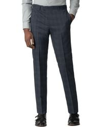 Ben Sherman - Blue With Navy Overcheck Slim Fit Trousers - Lyst