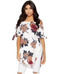 Quiz - White Beige And Grey Floral Bardot Tunic Dress - Lyst