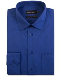 Double Two - Big And Tall Navy Cotton Rich Non-iron Shirt - Lyst