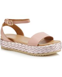 Faith - Pink Leather 'jake' Mid Flatform Ankle Strap Sandals - Lyst