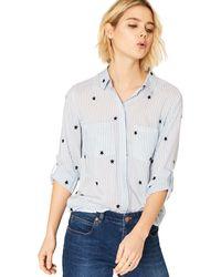 Oasis - Multi Blue Ticking Stripe Star Shirt - Lyst