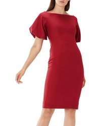 Coast - Mulberry Red 'shailene ' Puff Sleeve Dress - Lyst