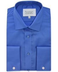 Double Two - Big And Tall Blue Double Cuff Cotton Shirt - Lyst