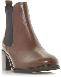 Dune - Dark Tan Leather 'paramoor' Mid Block Heel Chelsea Boots - Lyst