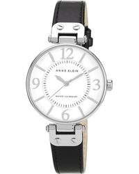 Anne Klein - Ladies Black Leather Strap Watch 10/n9169wtbk - Lyst