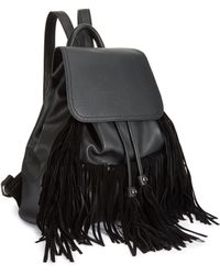 Miss Selfridge - Black Fringe Backpack - Lyst