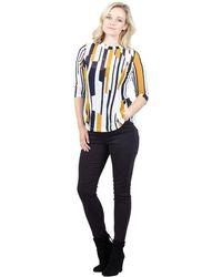 Izabel London - Yellow Striped Tunic Top - Lyst