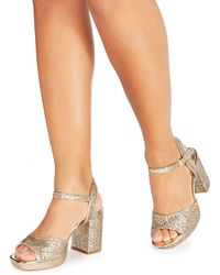 a532163eff45 Faith - Gold Glitter  dorothy  High Heel Wide Fit Ankle Strap Sandals - Lyst