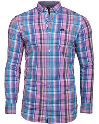 Raging Bull - Big And Tall Long Sleeve Madras Check Mid Blue Shirt - Lyst