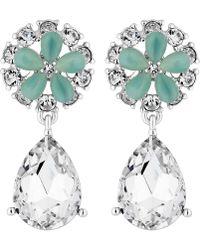 Jenny Packham - Designer Aqua Floral Drop Earrings - Lyst