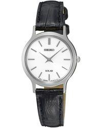 Seiko - Ladies Black Solar Leather Watch Sup299p1 - Lyst