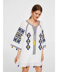 Mango - White Embroidered Linen Blend 'ania' V-neck Tunic Top - Lyst