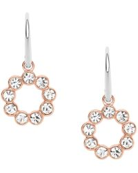Fossil - Ladies Glitz Drop Two Tone Earrings - Lyst