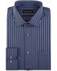 Double Two - Big And Tall Blue Multi Satin Stripe Formal Shirt - Lyst