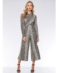 1eff0e80e0 Quiz - Stone And Black Snake Knot Front Culotte Jumpsuit - Lyst