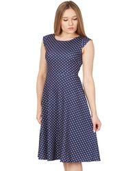 Feverfish - Navy Polka Dot Flared Dress - Lyst