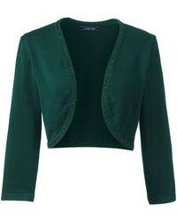Lands' End - Green Fine Gauge Supima Embellished Bolero - Lyst