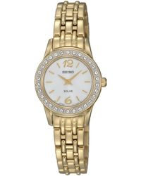 Seiko - Ladies Gold Plated Solar Bracelet Watch Sup128p9 - Lyst