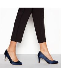 f959d3705b9c Début - Navy Satin  demelza  Mid Stiletto Heel Wide Fit Court Shoes - Lyst