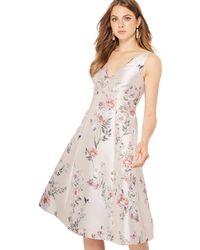 de3c5594fb02 Début - Pale Pink Floral Print 'jena' V-neck Knee Length Plus Size