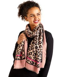 Yumi' - Pink Leopard Print Scarf With Pink Border Det - Lyst