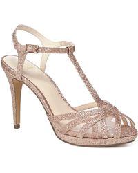 Jenny Packham - Rose Gold Glitter 'polly' High Stiletto Heel T-bar Sandals - Lyst