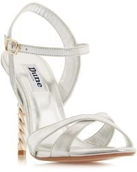 Dune - Silver Leather 'magician' High Stiletto Heel Ankle Strap Sandals - Lyst
