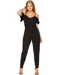 ce2e0179eb9 New Look Petite Black Glitter Stripe Jumpsuit in Black - Lyst