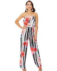 Quiz - Cream And Black Floral Stripe Jumpsuit - Lyst