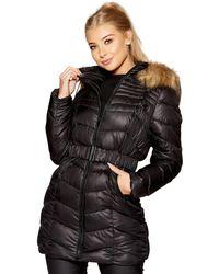 Quiz - Black And Beige Chevron 3/4 Belted Hood Jacket - Lyst