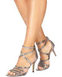 Faith - Silver 'leia' High Stiletto Heel Ankle Strap Sandals - Lyst