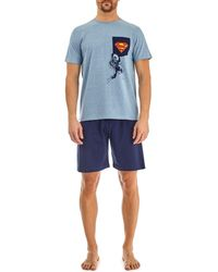 Burton - Blue Superman Print Pyjama Set - Lyst