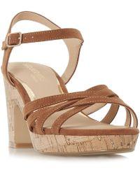Dune - Tan 'jaclyn' Mid Platform Ankle Strap Sandals - Lyst