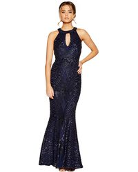 Quiz - Navy Sequin And Mesh Fishtail Maxi Dress - Lyst
