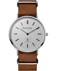 Barbour - Gents Brown Quartz Strap Watch - Lyst