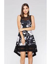 Quiz - Black And White Floral Dip Hem Dress - Lyst