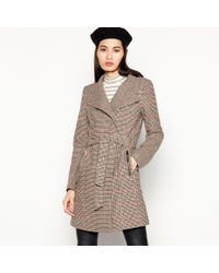 Vero Moda - Taupe Check Print Belted Coat - Lyst