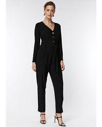 18b00e31907 Wallis - Petite Black Button Front Tie Jumpsuit - Lyst