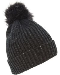 Dune - Black 'francine' Embellished Knitted Hat - Lyst
