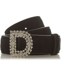 Dune - Black 'nellie' D Buckle Embellished Belt - Lyst