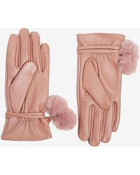 Dorothy Perkins - Blush Pom Leather Gloves - Lyst
